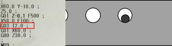 G03とIで円弧加工