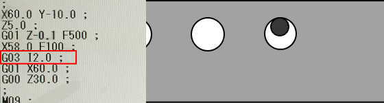 G03とIで円弧加工3
