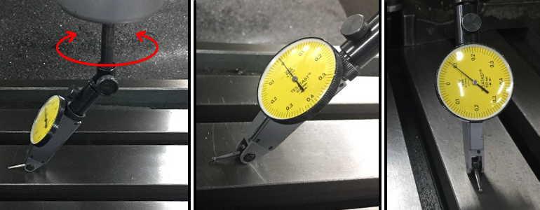汎用フライス盤の主軸の傾きを測定