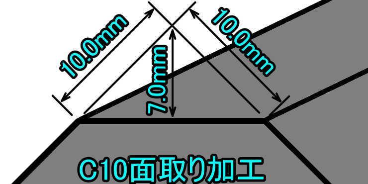 C10面取り加工の説明(立体)