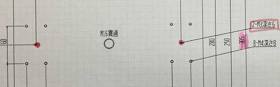図面M3加工
