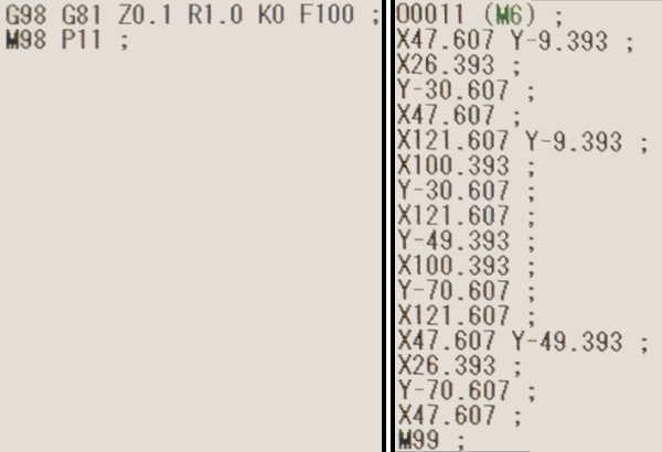 G52ローカル座標系比較用もみつけNCプログラム
