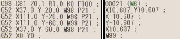 G52ローカル座標系比較用NCプログラム2