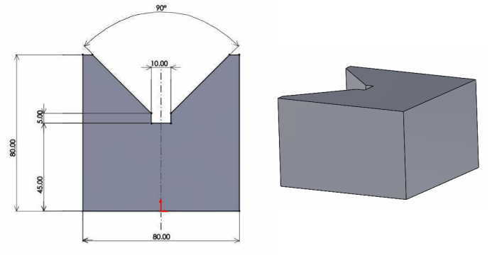 Vブロックの平面図と立体図