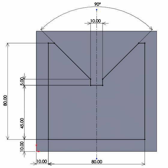 Vブロック加工用平面図