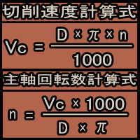 主軸回転数・切削速度(周速)計算式
