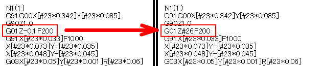 マクロプログラムZを変数#26で指令