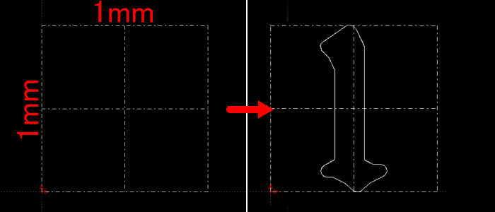 CAD1mm角に1の文字をモデリング
