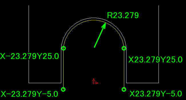 ボールエンドミル中心距離でNCプログラム作成