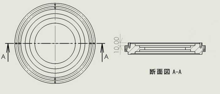 円盤芯出し説明用図面