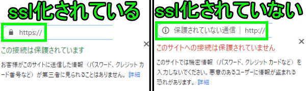 ssl化の違い比較(Google chrome)