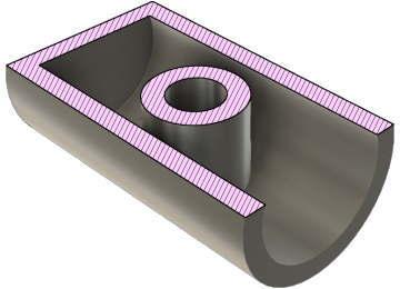 円筒底面を選択してシェル化断面