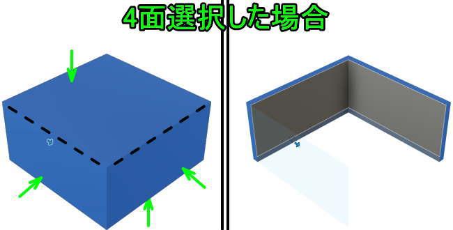 底面と正面と側面を選択してシェル化