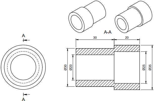3D CAD Fusion360練習用円筒図面