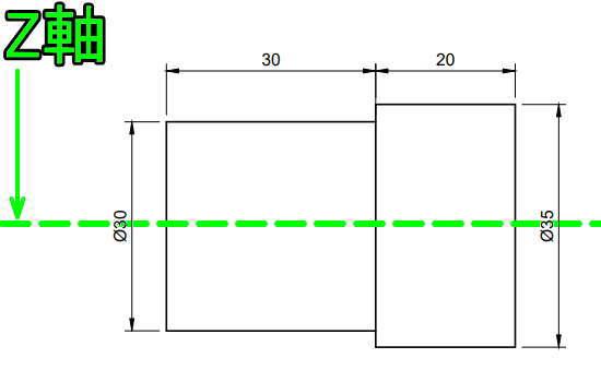 Z軸と平行に円柱のスケッチを作成