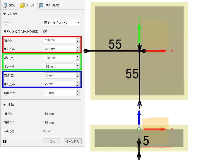モデル原点オフセットでストックを固定の説明