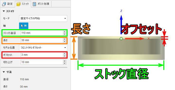 固定サイズ円柱の説明