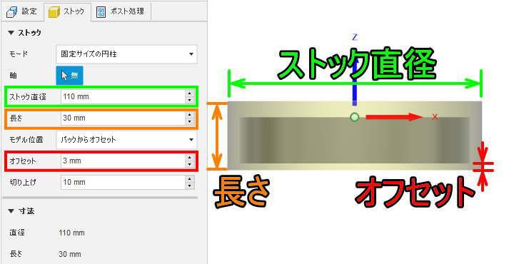 固定サイズ円柱バックからオフセットの説明