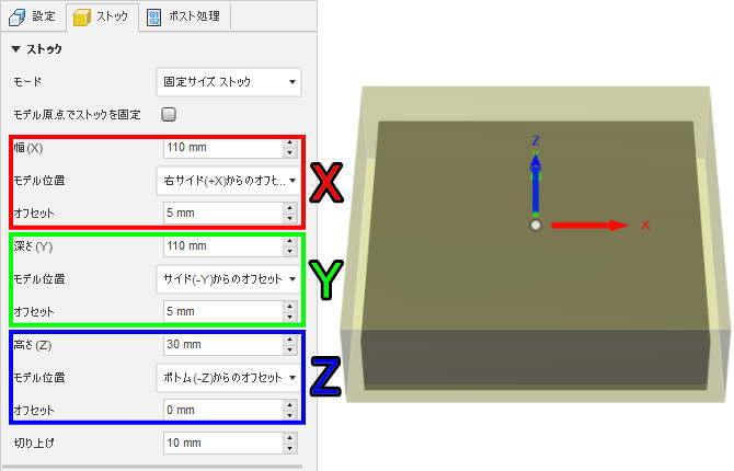 3DCAD 右サイドからのオフセット各軸2