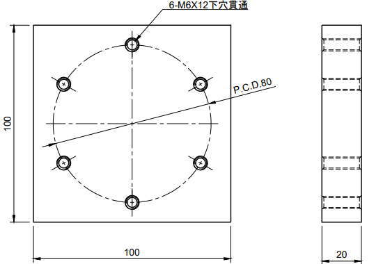 M6X6加工用図面