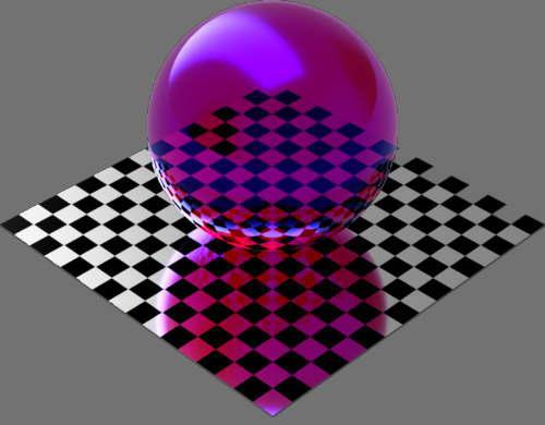 レンダリングの外観ガラスの反射カラー変更後(球体)