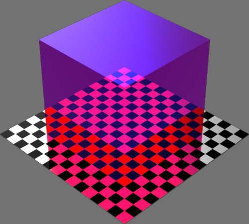 レンダリングの外観ガラスの反射カラー変更後(赤と青)