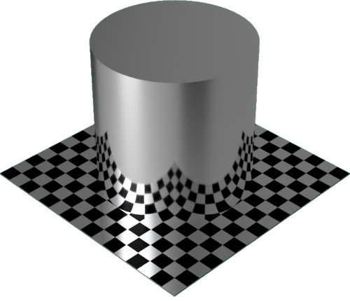 3DCADモデリングの外観をメタルのアルミニウム-つや出し円柱