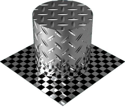 3DCADモデリングの外観をメタルのアルミニウム-ダイヤモンド プレート-1バー円柱