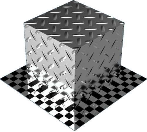 3DCADモデリングの外観をメタルのアルミニウム-ダイヤモンド プレート-1バー直方体