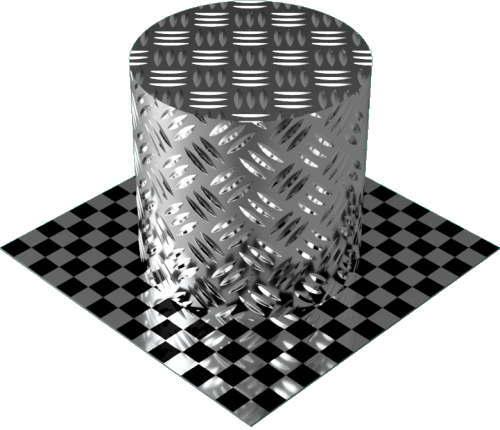 3DCADモデリングの外観をメタルのアルミニウム-ダイヤモンド プレート-3バー円柱