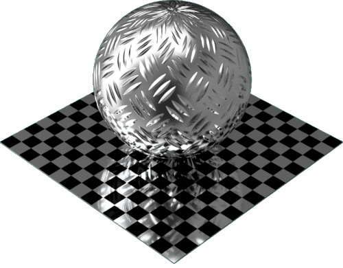 3DCADモデリングの外観をメタルのアルミニウム-ダイヤモンド プレート-3バー球
