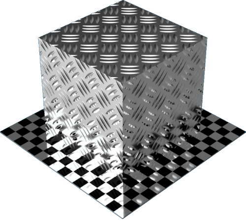 3DCADモデリングの外観をメタルのアルミニウム-ダイヤモンド プレート-3バー直方体
