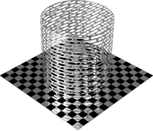 3DCADモデリングの外観をメタルのアルミニウム-メッシュ-スロット千鳥配置円柱