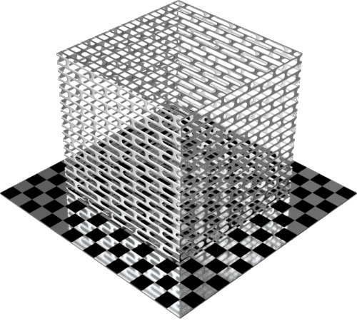3DCADモデリングの外観をメタルのアルミニウム-メッシュ-スロット千鳥配置直方体