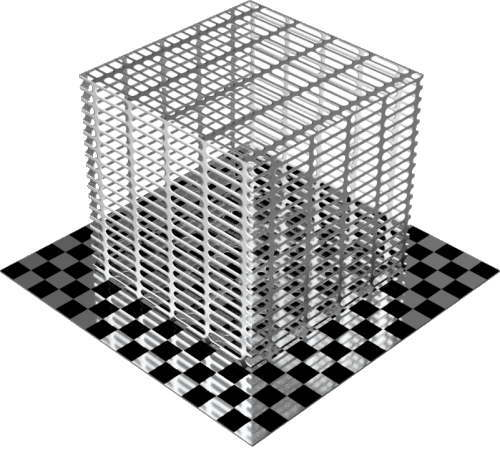 3DCADモデリングの外観をメタルのアルミニウム-メッシュ-スロット直方体