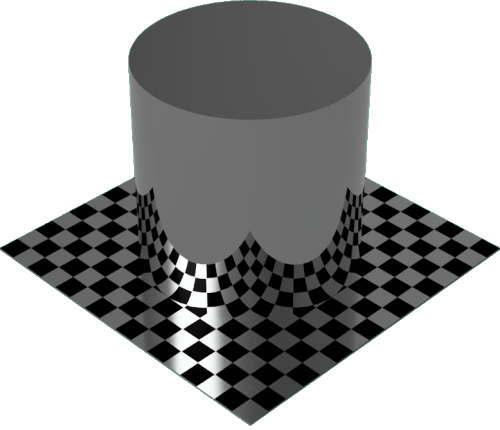 3DCADモデリングの外観をメタルのクロム円柱