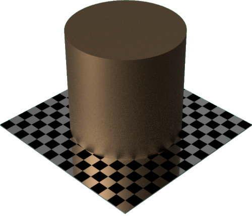 3DCADモデリングの外観をメタルのブロンズ円柱