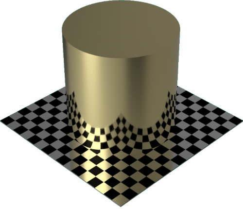 3DCADモデリングの外観をメタルの金円柱