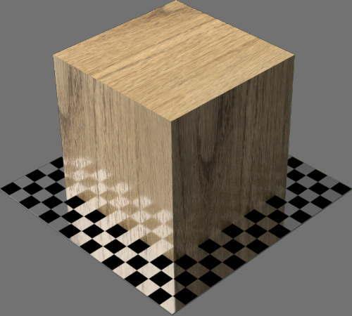 fudsion360レンダリングのオーク材直方体