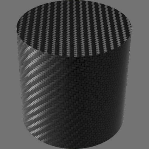 fudsion360レンダリングのカーボンファイバー-綾織円柱