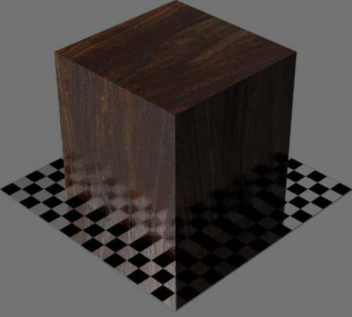 fudsion360レンダリングのクルミ材直方体