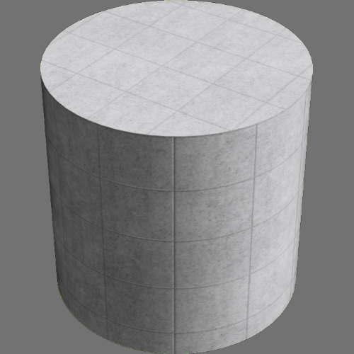 fudsion360レンダリングのコンクリートタイル円柱