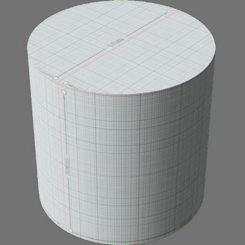 fudsion360レンダリングのサーフェス計測済み円柱