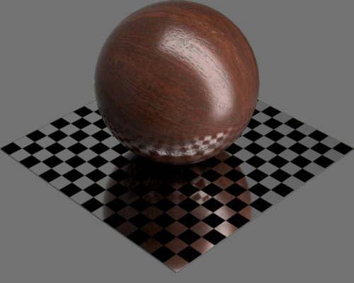 fudsion360レンダリングのマホガニー材球