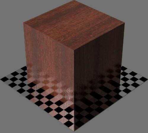 fudsion360レンダリングのマホガニー材直方体