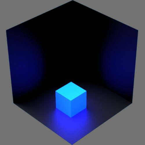 fudsion360レンダリングの放射光の放射率が青半透明赤パラメータ緑