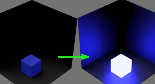 fudsion360レンダリングの放射光の輝度を変更した比較