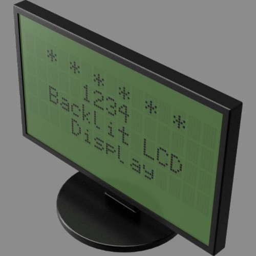 fudsion360レンダリングの表示-4x20-LCDディスプレイ