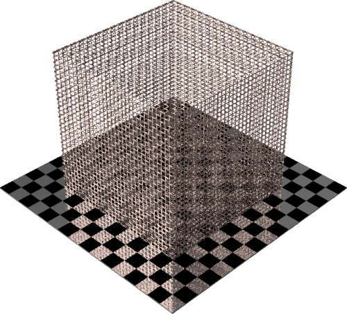 3DCADモデリングの外観をメタルの銅-メッシュワイヤ小直方体