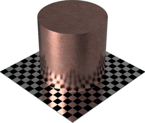 3DCADモデリングの外観をメタルの銅-未処理円柱